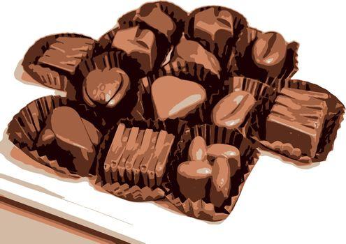 ready to eat figured chocolates on white background