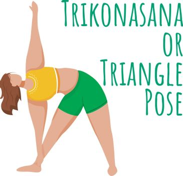 Trikonasana social media post mockup. Triangle pose. Caucausian woman doing yoga. Web banner design template. Social media booster, content layout. Poster, printable card with flat illustrations