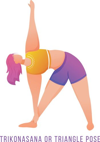 Trikonasana flat vector illustration. Triangle pose. Caucausian woman doing yoga in orange and purple sportswear. Workout, fitness. Physical exercise. Isolated cartoon character on white background