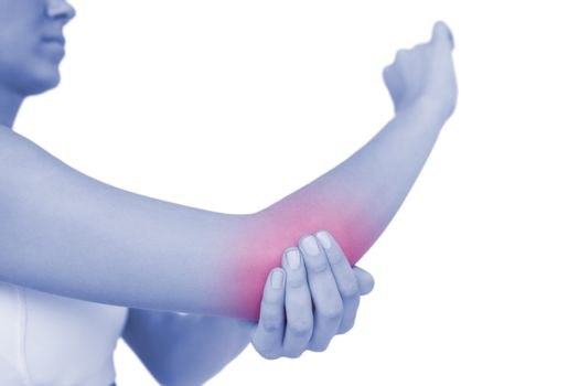 Woman touching her sore elbow