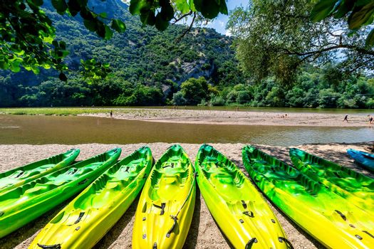 kayak parked on the shore of a beautiful beach of the river Nestos, on a sunny day, Greece