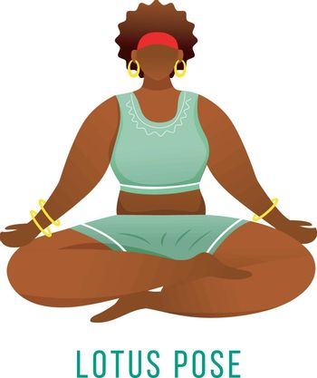 Lotus pose flat vector illustration. Padmasana. African American, dark-skinned woman performing yoga posture. Workout, fitness. Physical exercise. Isolated cartoon character on white background