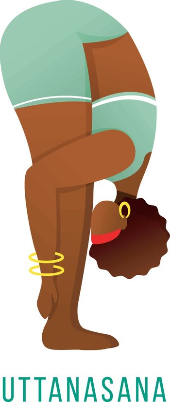 Uttanasana flat vector illustration. Standing forward bend. African American, dark-skinned woman performing yoga posture. Workout. Physical exercise. Isolated cartoon character on white background