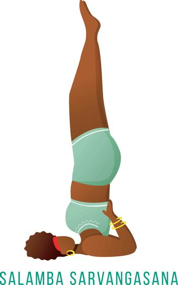Salamba Savargasana flat vector illustration. Supported shoulderstand. African American, dark-skinned woman performing yoga posture. Workout, fitness. Isolated cartoon character on white background