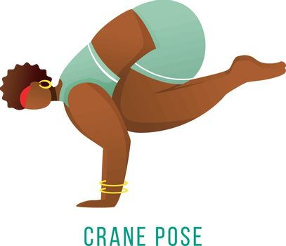 Crane pose flat vector illustration. Bakasana posture. African American, dark-skinned woman performing yoga posture. Workout, fitness. Physical exercise. Isolated cartoon character on white background