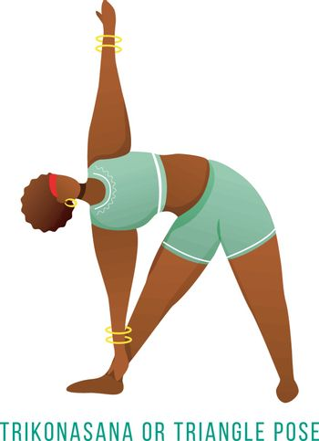 Trikonasana flat vector illustration. Triangle pose. African American, dark-skinned woman performing yoga posture. Workout, fitness. Physical exercise. Isolated cartoon character on white background