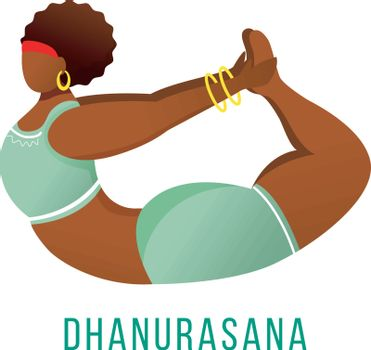 Dhanurasana flat vector illustration. Bow pose. African American, dark-skinned woman performing yoga posture. Workout, fitness. Physical exercise. Isolated cartoon character on white background