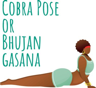 Cobra pose social media post mockup. Bhujangasana. Dark-skinned woman doing yoga. Web banner design template. Social media booster, content layout. Poster, printable card with flat illustrations