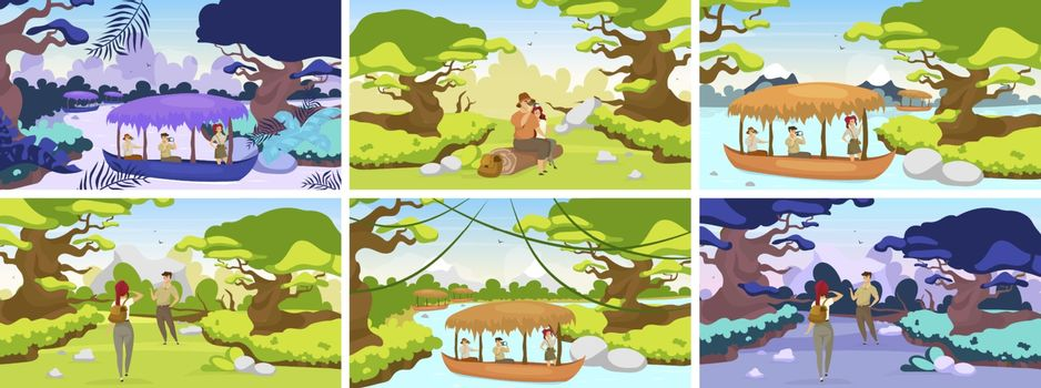 Jungle expedition flat vector illustration. Tourists journey to tropical forest. Couple sitting on log. Trekkers observe panoramic landscape. Group in boat on river. Female and male cartoon characters
