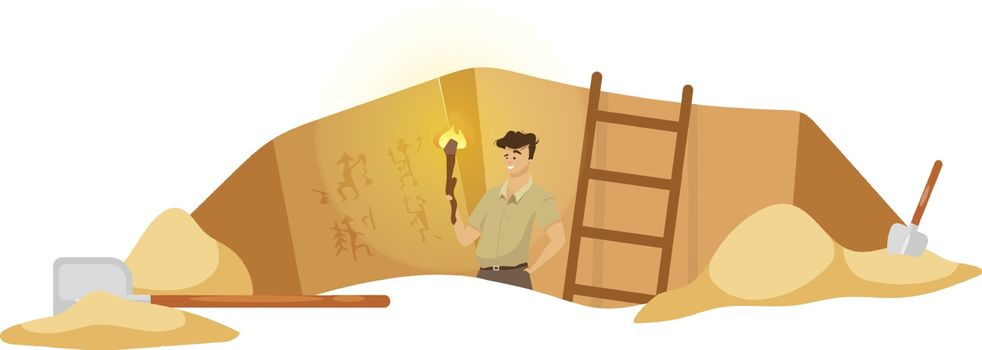 Excavation flat vector illustration. Male researcher on archeological site, man observe mural paintings. Egyptian wall pictures discovery. Ground hole in Africa. Expedition cartoon background