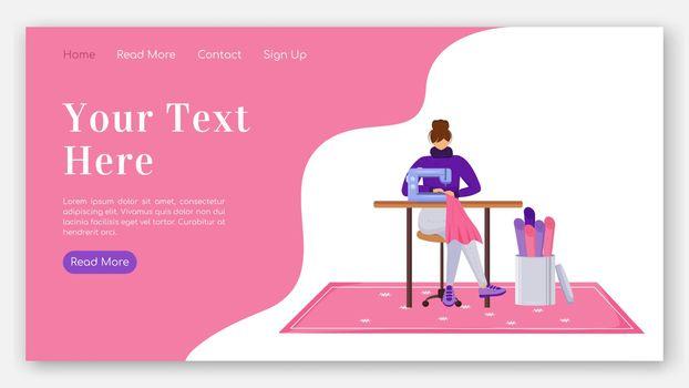 Fashion designer landing page flat color vector template. Assist