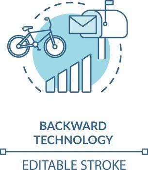 Backward technology turquoise concept icon
