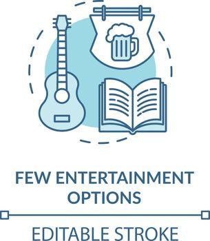 Few entertainment options turquoise concept icon