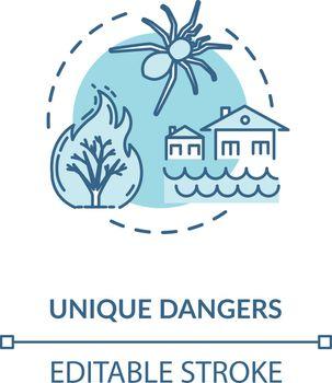 Unique dangers turquoise concept icon