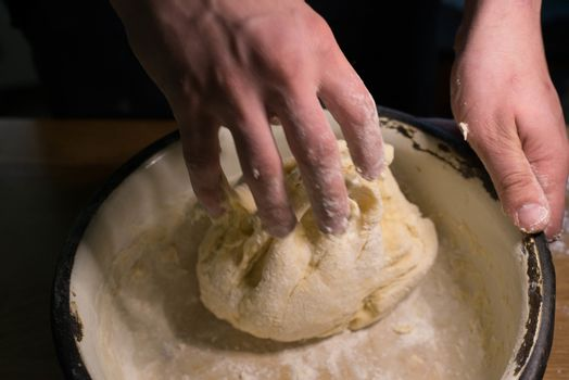 Knead the dough in a bowl