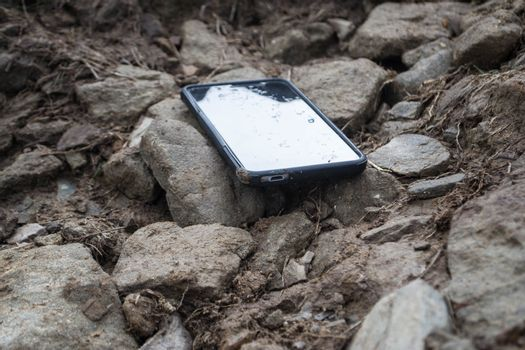 Smartphone on a stone