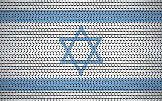 Abstract flag of Israel made of circles. Israeli flag designed with colored dots giving it a modern and futuristic abstract look.