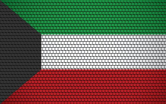 Abstract flag of Kuwait made of circles. Kuwaiti flag designed with colored dots giving it a modern and futuristic abstract look.