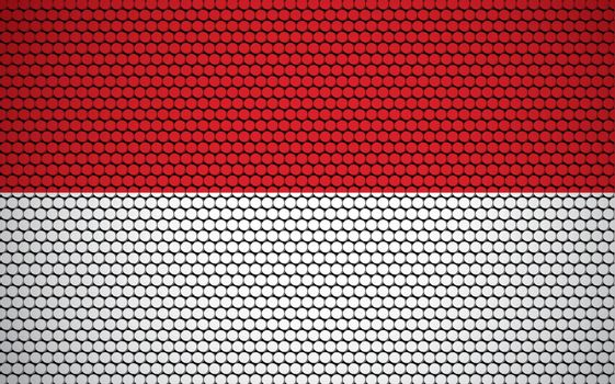 Abstract flag of Indonesia made of circles. Indonesian flag designed with colored dots giving it a modern and futuristic abstract look.