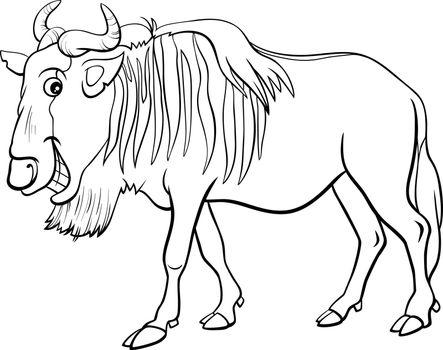 gnu antelope or wildebeest cartoon animal character