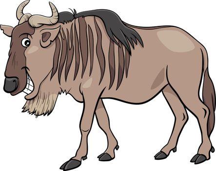 gnu antelope or blue wildebeest cartoon animal character