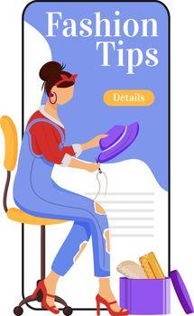 Fashion tips cartoon smartphone vector app screen. Creating, sew