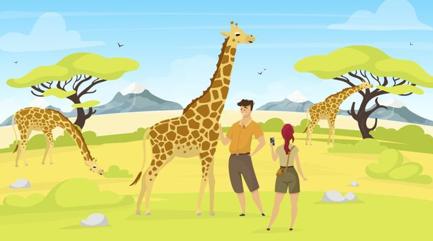 African expedition flat vector illustration. Giraffes in savannah. Woman and man tourist observe south creatures. Green savanna field with trees. Animals and people cartoon characters