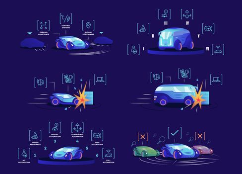 Driverless cars flat color vector illustrations set. Self driving vehicles on blue background. Autonomous automobile advantages, smart control systems, different automation modes and damage protection