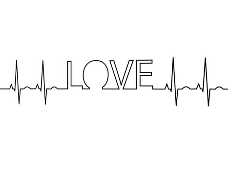 heartbeat with black word love on white background - 3d rendering
