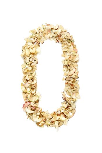 Number 0 made of pencil shavings