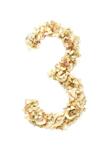 Number 3 made of pencil shavings