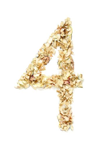 Number 4 made of pencil shavings
