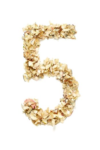 Number 5 made of pencil shavings