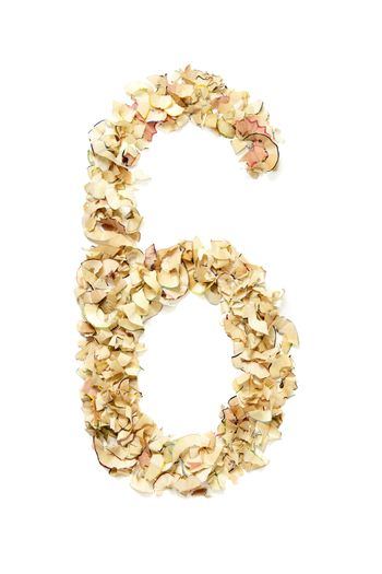 Number 6 made of pencil shavings