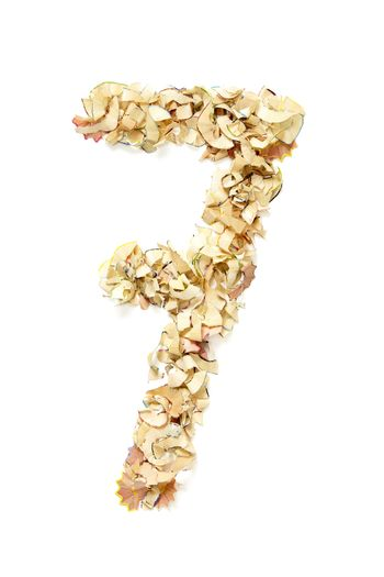Number 7 made of pencil shavings