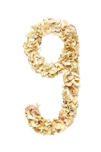 Number 9 made of pencil shavings