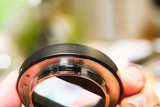 closeup the black extender lens 16 mm