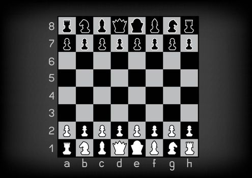 Chess figures board template mockup on dark background. Chessboard strategy education. Checkerboard competition set