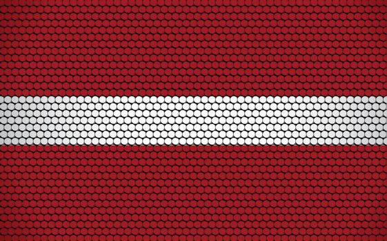 Abstract flag of Latvia made of circles. Latvian flag designed with colored dots giving it a modern and futuristic abstract look.