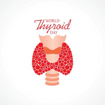 Vector illustration for World Thyroid Day which is held on 25 may. Can be used for poster, banner, medical designs, backgrounds, symbol, icon and print templates.
