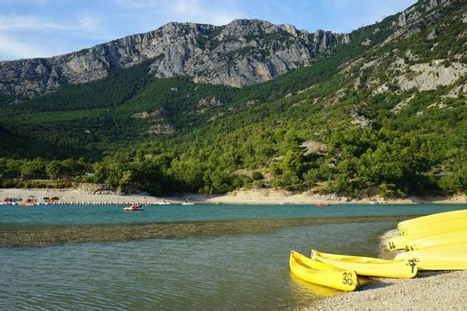 The beach of the Sainte-Croix lake in Verdon, France