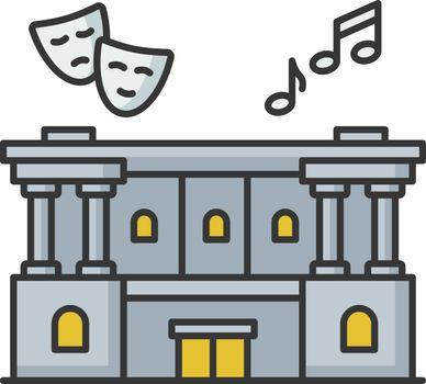 Cultural center RGB color icon