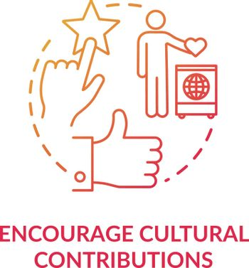 Encourage cultural contribution red concept icon