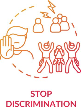 Stop discrimination red concept icon