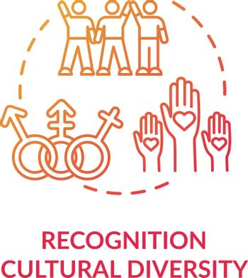 Cultural diversity recognition red concept icon
