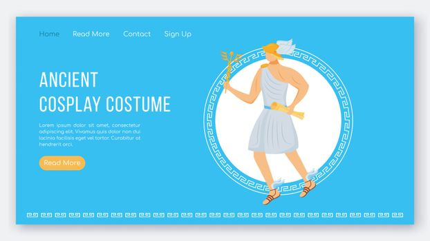 Ancient cosplay costume landing page vector template