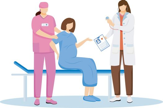 Childbirth at hospital flat vector illustration