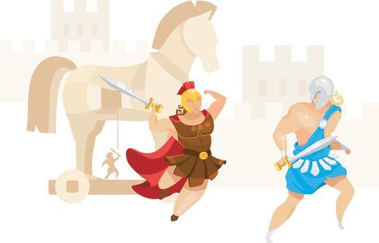 Trojan war flat vector illustration