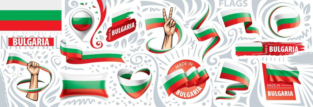 Vector set of the national flag of Bulgaria in various creative designs.
