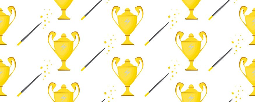Seameless vector pattern for teenage textiles. Ideal for the design of notebooks, wrapping paper, fabric. Champion cup. Prize winner. Magic tools.